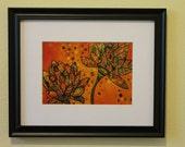 5x7 Tangerine Lotus high quality print of original art