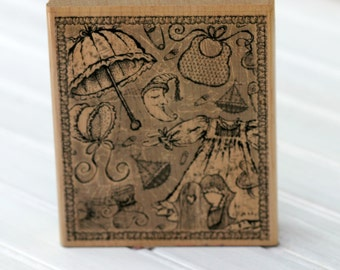Wood Mounted Rubber Stamp Baby Collage Destash