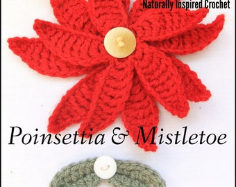 Poinsettia and Mistletoe Crochet Pattern PDF
