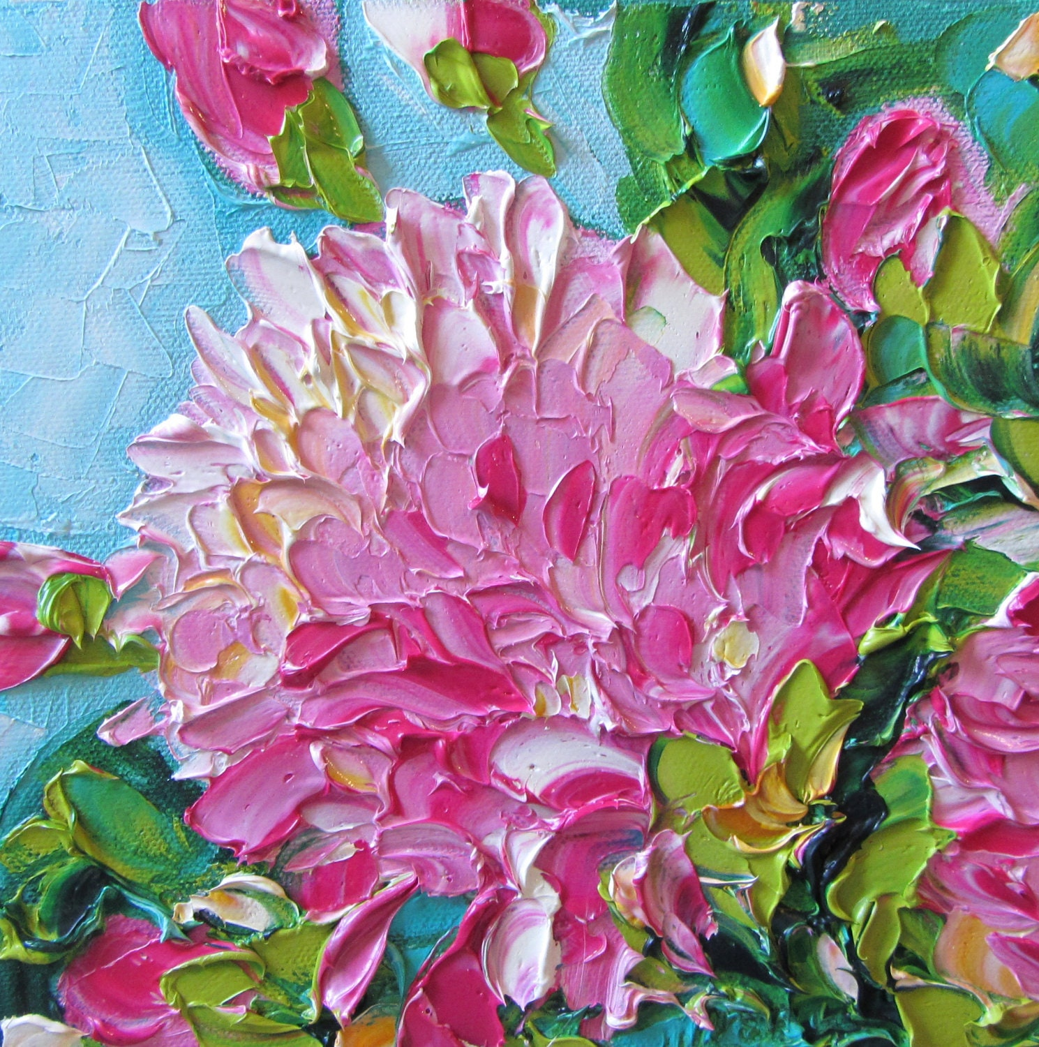 Oil painting original impasto pink peonies art for Flower paintings on canvas
