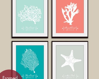 Underwater Sea Coral Collection  (Series A) Set of 4 - Art Print (Featured in Duck Egg, Coral Rose, Ocean Blue and Fog Grey)