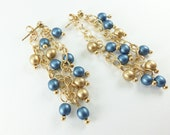 Blue 14k Gold Dangle Earrings Gold Chain Earrings Long Gold Dangle Earrings Blue Beaded