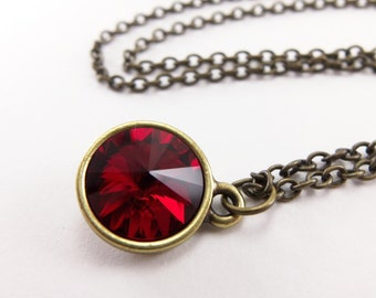 Ruby Red Crystal Necklace July Birthstone Necklace Antiqued Brass Swarovski Crystal Necklace July Birthstone Jewelry