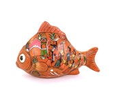 Vintage Figurine Mexican Fish Native Art Aztec  Class Room Mexico Men Women Mantle Display Case Brown Collectible Under 20