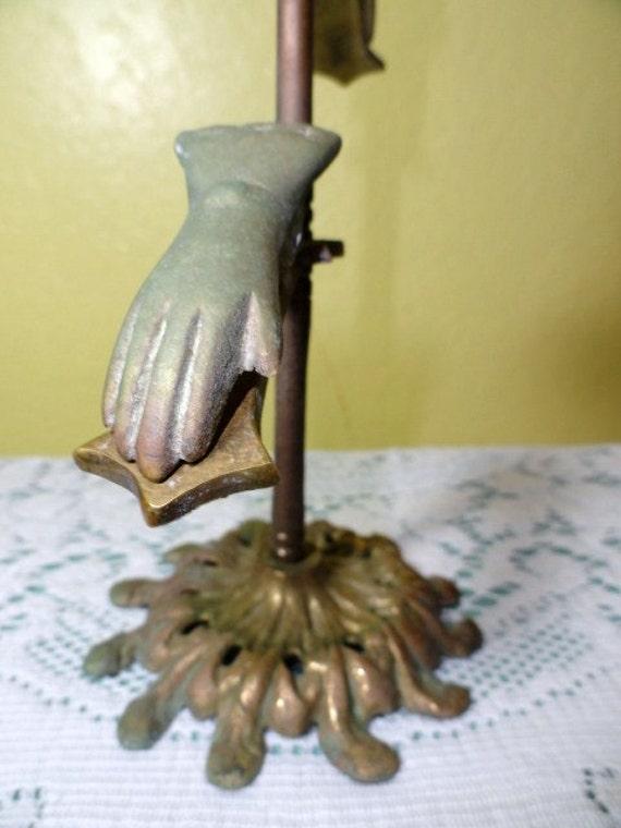Vintage Brass Hand Clip Stand Glove Display Photo Holder Guest