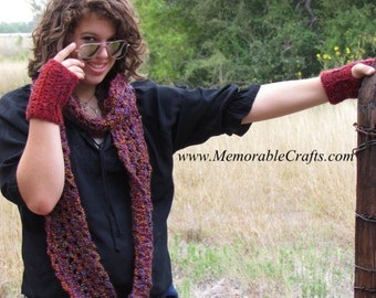 Colorful Infinity / Loop / Eternity Scarf - Long, WIDE - Multicolored Red, Purple, Green, Gold