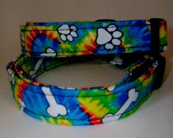 Tye Dye Dog Paw Collar