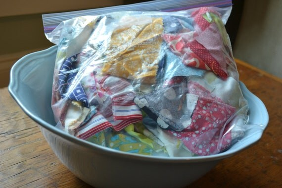 designer  fabric scraps and remnants in a gallon bag