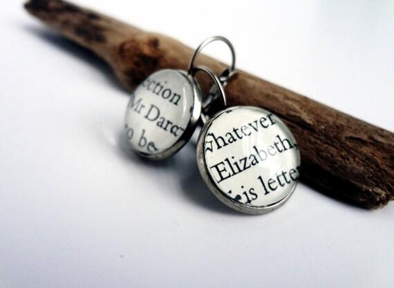Brass Elizabeth and Darcy earrings for Elizabeth