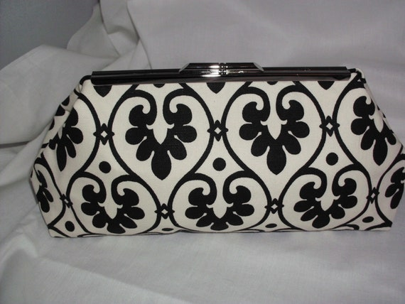 Black and White Cotton Clutch Bag