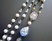 Crystal and Pearl Necklace, Rosary Necklace, Religious Jewelry