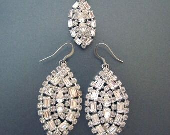 Vintage Rhinestone Dangle Earrings with Necklace Chandelier Bridal Earrings Crystal Wedding Jewelry