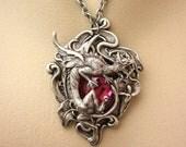 Renaissance Dragon Pendant Silver Necklace