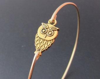 Gold Owl Bracelet, Gold Owl Bangle, Baby Owl Charm Bracelet, Gold Owl Jewelry, Night Owl, Wise Owl, Gift Idea, Gold Charm Bangle Bracelet