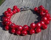 Red pearl cluster bracelet, chunky pearl bracelet