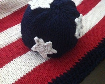 Holiday Photo Prop - Knitted Cotton Baby Blanket & Hat - American Baby