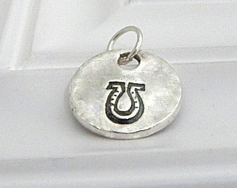 Horseshoe Charm - Hand Stamped Silver on Etsy