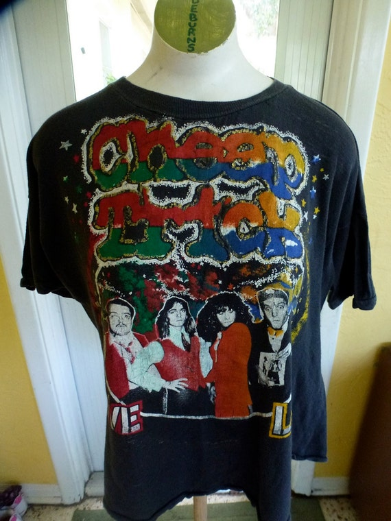 VIntage Cheap Trick concert tour tee 1980s - black threadbare t-shirt size large