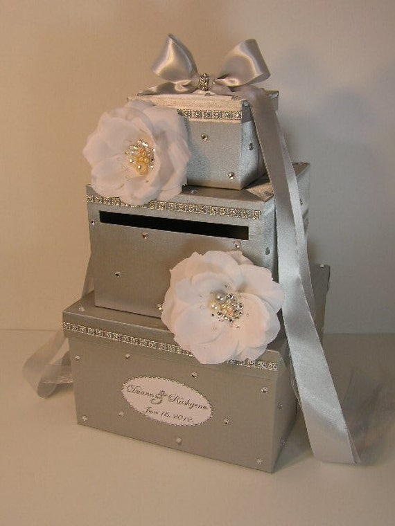 Silver Wedding Gift Card Holder : Wedding Card Box Silver with handmade flowers and Swarovski Crystals ...