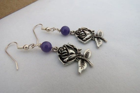 CLEARANCE! Rose Earrings - Purple, Antiqued Silver, Handmade