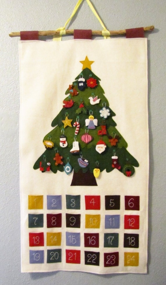 Pattern - Felt Ornament Advent Calendar Pattern, PDF, Christmas Advent Wall Hanging