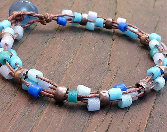 Blue Mosaic Bracelet - Blue Recycled Glass Beads, Brown Hemp, Multi Strand Bracelet