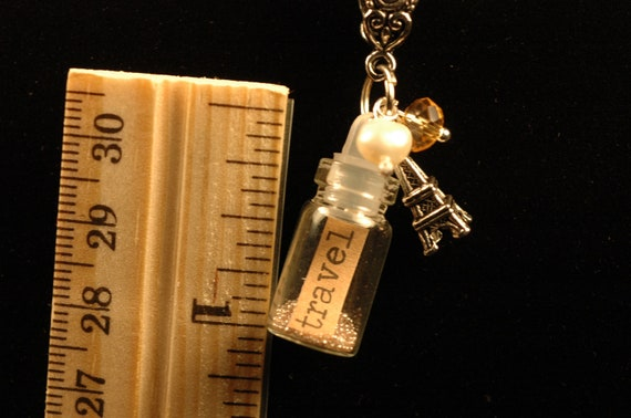 Traveler Charm Necklace , Travel in a Bottle , Message in a Bottle , Tiny Bottle Charm Necklace