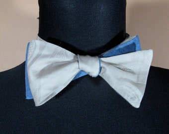 Reversible Bow Tie in Cotton Jaquard Solid and Blue Cotton