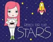 Reach for the Stars // Girl Astronaut // Art Print // Girls Room