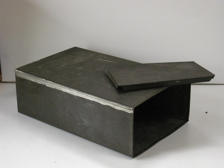 Vintage Galvanized Metal Box Rectangle With Lid Tin Storage