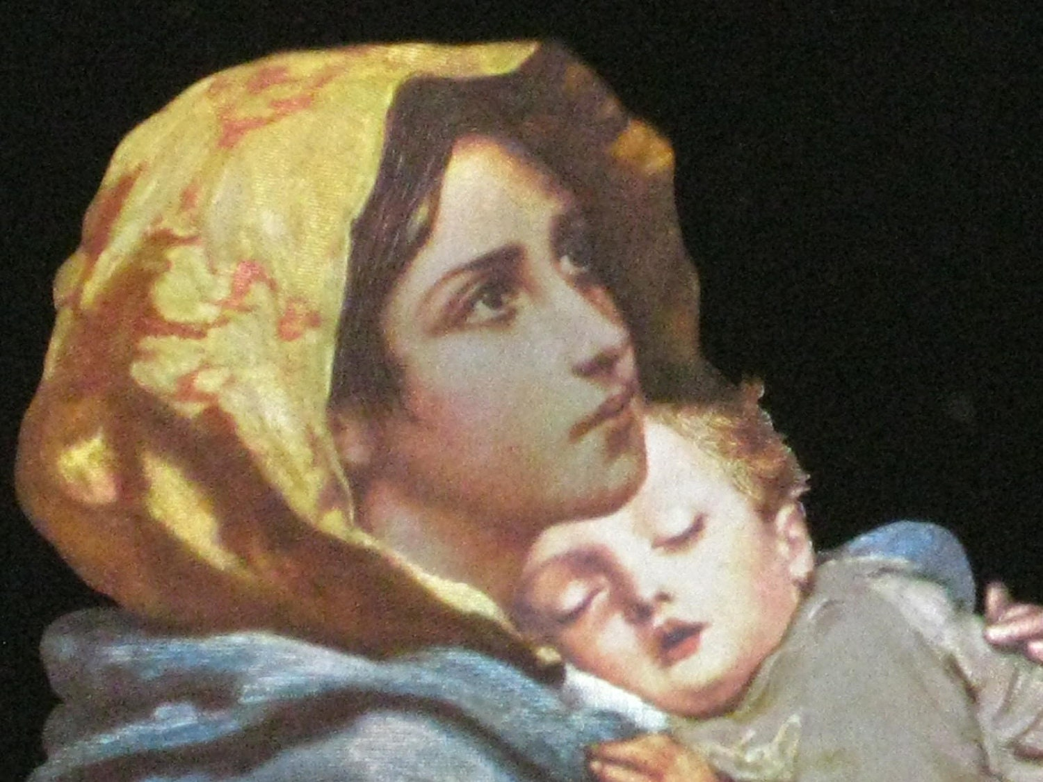 Vintage Virgin Mary And Baby Jesus Screened Etching Framed