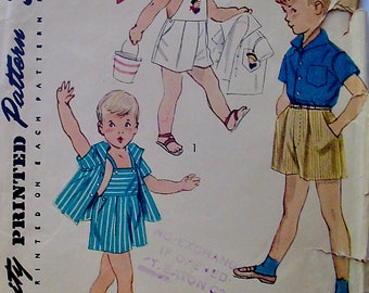 Vintage 1952 Simplicity 3909 Sewing Pattern Boys' Pants, Shirt and Playsuit Size 2