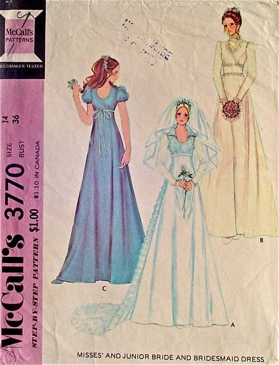 Wedding dress vintage 70s empire waist bride and by for Empire waist wedding dress patterns