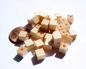 V. Czech - Tan Wooden Large Square Beads - MI95