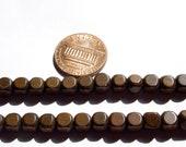 Vintage Czech - Brown Cube Wood Beads - MI36