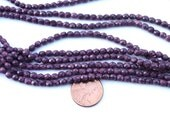 Vintage W. German - Glass Beads Purple Round Faceted - GB541
