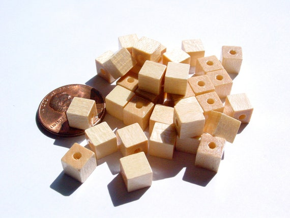 V. Czech - Tan Wooden Large Square Beads - MI95