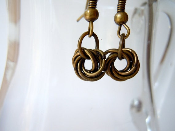 40% Off - Chainmaille Earrings - Bronze Mobius Flower