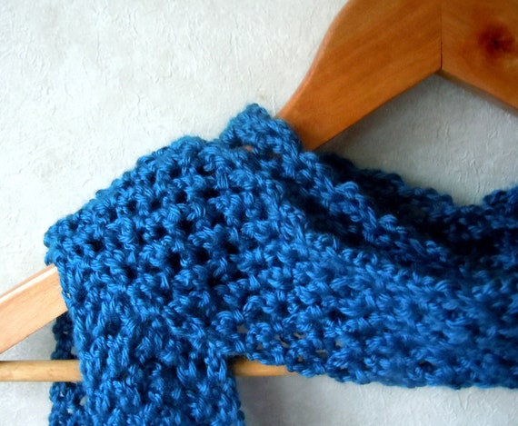 40% Off - Long Crochet Fashion Scarf - Open Lace Design in Ocean Blue