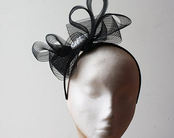 Black Crin and Pearl Headband - Great fascinator for a wedding, prom or a day at the races