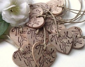 RESERVED - Rustic Wood Heart Gift Tags - Hand Stamped Wooden Thank You Favor Tags with Twine (Qty of 40) - Perfect for boxes, bags, and more