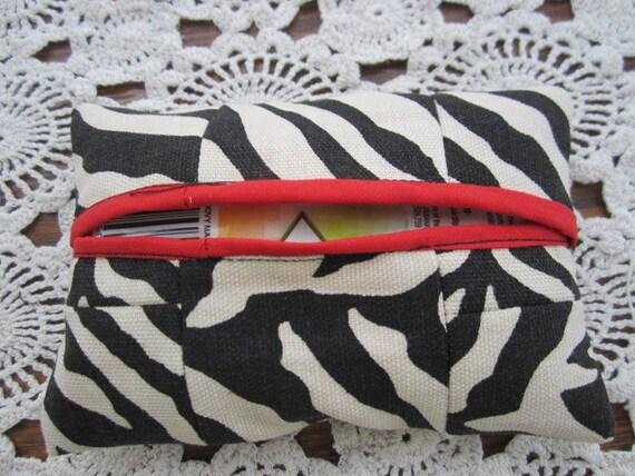 Kleenex Tissue Holder Pocket Quilted Zebra Cozy