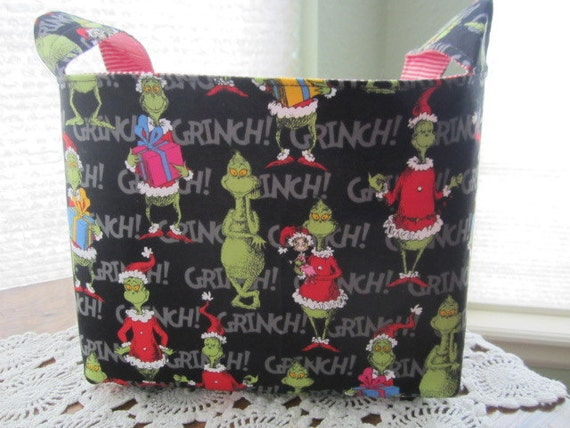 Reversible Organizer Fabric How the Grinch Stole Christmas Basket Bucket Storage Bin