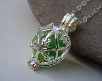 Sea Glass Necklace - Filigree Locket Pendant - Emerald Green Sea Glass