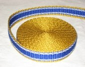 Gold, blue, and white inkle woven trim (over 14 feet)