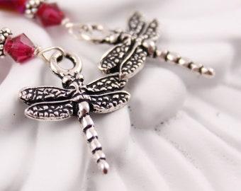 Dragonfly Earrings Czech Glass, Red, Magenta, Silver