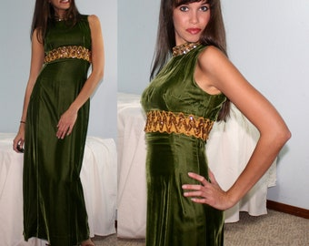 Vintage dress green gold lace velvet no sleeve COCKTAIL zip up womens S XS 50's 60's