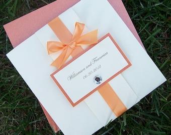 Orange & Ivory Pocketfold Invitation: Bow Tie Wedding Invitation, Pocket Fold Wedding Invite, Modern Chic Wedding Invitation