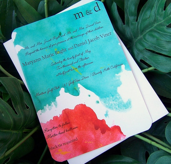 Make a Splash, Wedding invitation, Teal, blue, red, orange, yellow, lime, invitation, Modern invitation, chic invitation, unique invitation