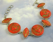 Red Egyptian Bracelet 1920s Vintage Glass in Sterling Silver Art Deco Jewelry